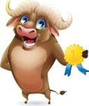 Funny Buffalo Cartoon Character - Winning prize