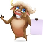Funny Buffalo Cartoon Character - with a Blank paper