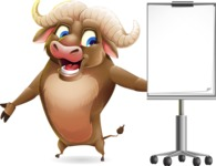 Funny Buffalo Cartoon Character - with a Blank Presentation board