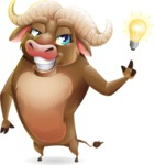 Funny Buffalo Cartoon Character - with a Light bulb