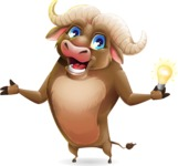 Funny Buffalo Cartoon Character - with an Idea