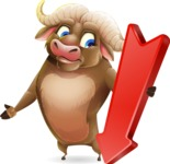 Funny Buffalo Cartoon Character - with Arrow going Down