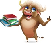Funny Buffalo Cartoon Character - with Books
