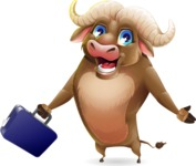 Funny Buffalo Cartoon Character - with Briefcase