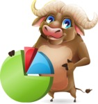Funny Buffalo Cartoon Character - with Business graph
