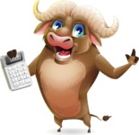 Funny Buffalo Cartoon Character - with Calculator