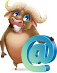 Funny Buffalo Cartoon Character - with Email sign