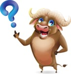 Funny Buffalo Cartoon Character - with Question mark