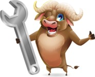 Funny Buffalo Cartoon Character - with Repairing tool wrench