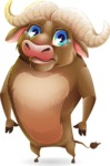 Funny Buffalo Cartoon Character - with Sad face
