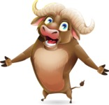 Funny Buffalo Cartoon Character - with Stunned face