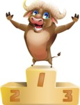 Funny Buffalo Cartoon Character - with Success on Top