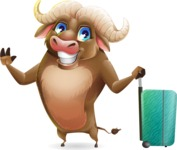 Funny Buffalo Cartoon Character - with Suitcase