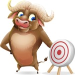 Funny Buffalo Cartoon Character - with Target