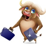 Funny Buffalo Cartoon Character - with Two briefcases