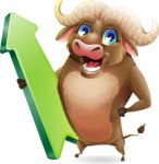 Funny Buffalo Cartoon Character - with Up arrow