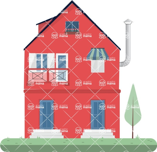 Project: Buildings - Red house with an yard