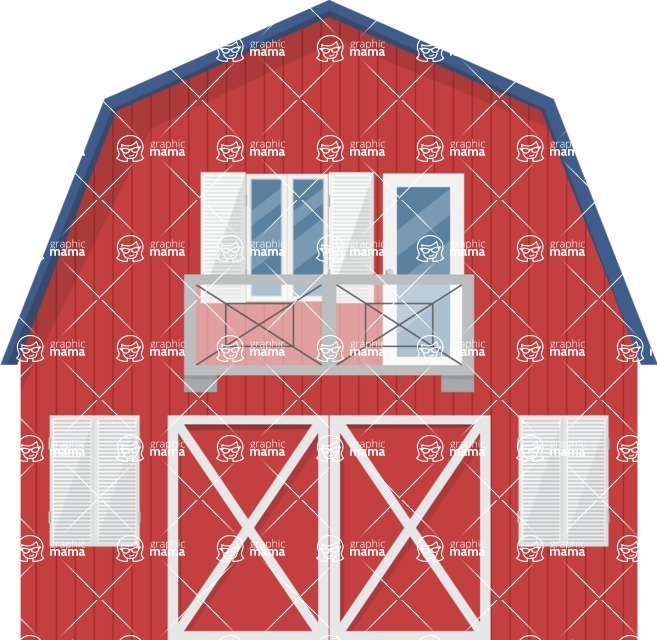 Building Vector Graphic Maker - Red farm house with warehouse