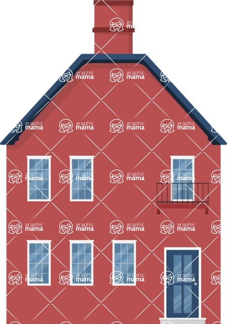 Building Vector Graphic Maker - Red color house