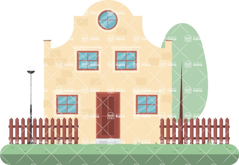 Building Vector Graphic Maker - House with yard