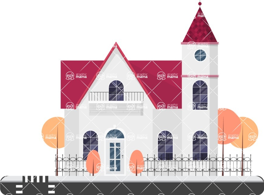 Building Vector Graphic Maker - Gorgeous white house