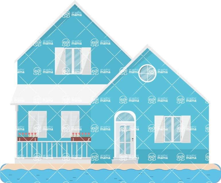 Building Vector Graphic Maker - Blue villa on the beach