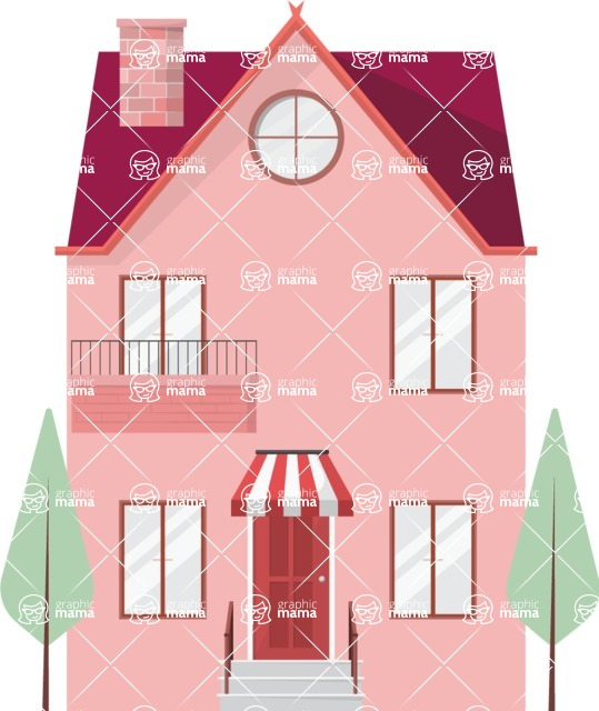 Building Vector Graphic Maker - Small pink house
