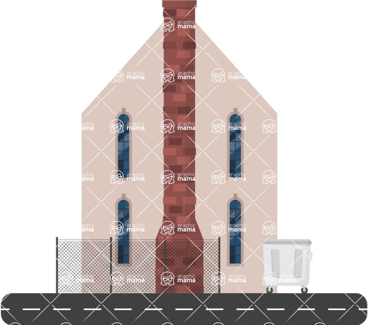 Building Vector Graphic Maker - Building with a big chimney