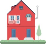 Building Vector Graphic Maker - Red house with an yard