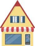 Building Vector Graphic Maker - Little house with a shop
