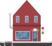 Building Vector Graphic Maker - Small building with a shop