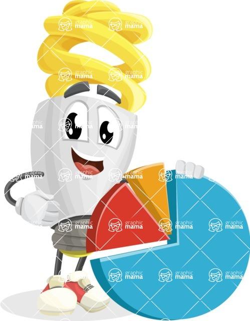 Energy Saving Light Bulb Cartoon Vector Character AKA Bulby