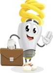 Energy Saving Light Bulb Cartoon Vector Character AKA Bulby Lightson - Being Businessman with Briefcase