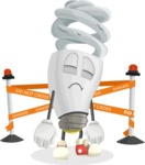 Energy Saving Light Bulb Cartoon Vector Character AKA Bulby Lightson - Broken