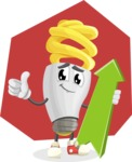 Energy Saving Light Bulb Cartoon Vector Character AKA Bulby Lightson - Cute and Smiling Illustration with Flat Background
