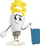 Energy Saving Light Bulb Cartoon Vector Character AKA Bulby Lightson - Going to vacation with a Suitcase