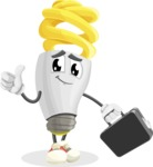 Energy Saving Light Bulb Cartoon Vector Character AKA Bulby Lightson - Holding a Brifcase