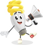 Energy Saving Light Bulb Cartoon Vector Character AKA Bulby Lightson - Holding a Loudspeaker