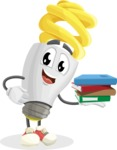 Energy Saving Light Bulb Cartoon Vector Character AKA Bulby Lightson - Holding Education Books