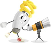 Energy Saving Light Bulb Cartoon Vector Character AKA Bulby Lightson - Looking through telescope