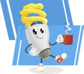 Energy Saving Light Bulb Cartoon Vector Character AKA Bulby Lightson - On Modern Simple Shapes Background