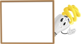 Energy Saving Light Bulb Cartoon Vector Character AKA Bulby Lightson - Presenting on Blank Whiteboard Template