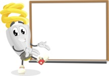 Energy Saving Light Bulb Cartoon Vector Character AKA Bulby Lightson - Presenting on Whiteboard