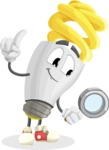 Energy Saving Light Bulb Cartoon Vector Character AKA Bulby Lightson - Searching with magnifying glass