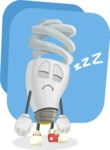 Energy Saving Light Bulb Cartoon Vector Character AKA Bulby Lightson - Turned Off Light Illustration with Flat Background