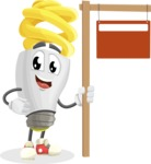 Energy Saving Light Bulb Cartoon Vector Character AKA Bulby Lightson - With Blank Real Estate Sign