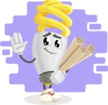 Energy Saving Light Bulb Cartoon Vector Character AKA Bulby Lightson - With Bricks Wall Background