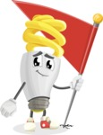 Energy Saving Light Bulb Cartoon Vector Character AKA Bulby Lightson - with Flag