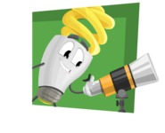 Energy Saving Light Bulb Cartoon Vector Character AKA Bulby Lightson - With Flat Background Illustration