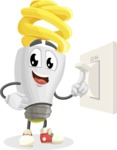 Energy Saving Light Bulb Cartoon Vector Character AKA Bulby Lightson - With Light Switch